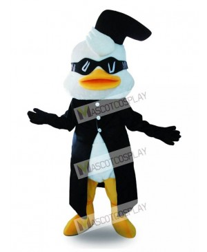 Black Suit Duck Mascot Costume with Glasses