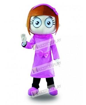 Purple Dress Big Eyes Girl Mascot Costume