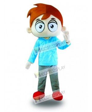 Blue Shirt Big Eyes Boy Mascot Costume
