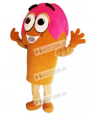 Pink Ice Cream Cone Mascot Costume