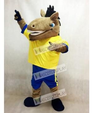 New Sport Team Broncho Horse with Yellow Shirt Mascot Costume