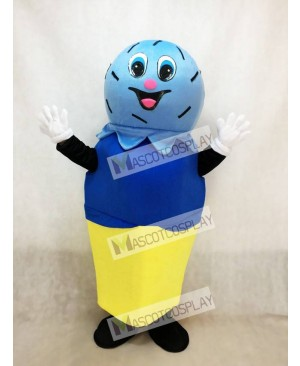 Double Blue Scoop on a Cake Cone Mascot Costume Ice Cream