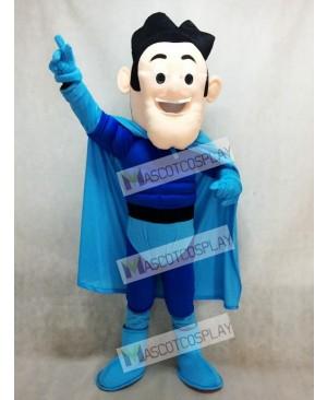 New Super Hero with Blue Cloak Mascot Costume