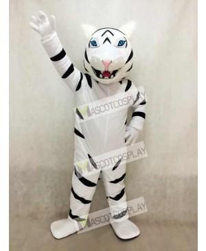 White Albino Tiger Mascot Costume with No Beard