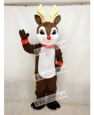 Blinker Deer with Red Nose Christmas Mascot Costume