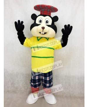 Golfing Gopher in Yellow Shirt Mascot Costume