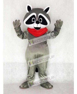 Raccoon with Red Neckerchief Mascot Costume