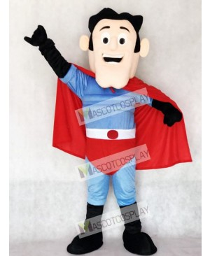 New Super Hero with Red Cape Mascot Costume