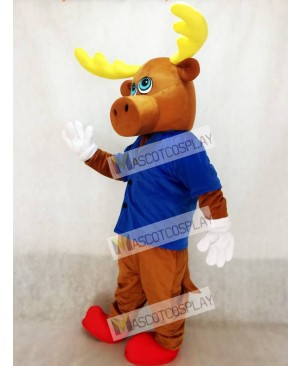 Brown Male Moose with Jacket Mascot Costume