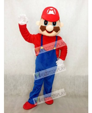 Super Mario Mascot Costume with Blue Overalls