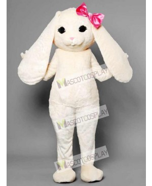 White Bunny Easter Rabbit Hare with Pink Bow Mascot Costume