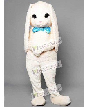 White Bunny Easter Rabbit Hare with Blue Bow Mascot Costume