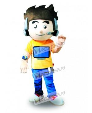 Earphone Computer Boy Mascot Costume