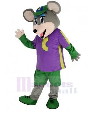 Chuck E. Cheese Mascot Costume Mouse with Purple T-shirt Cartoon