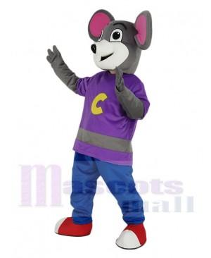 Chuck E. Cheese Mascot Costume Mouse with Purple Coat