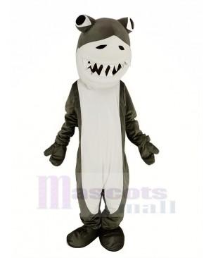 Gray and White Shark Mascot Costume