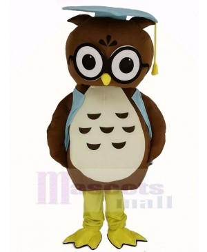 Brown Doctor Owl in Blue Vest Mascot Costume