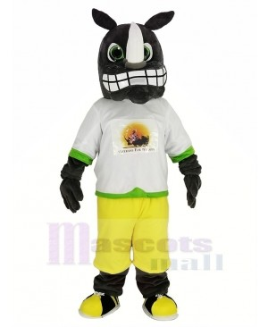 Gray Rhino with the Sweatshirt Mascot Costume Animal