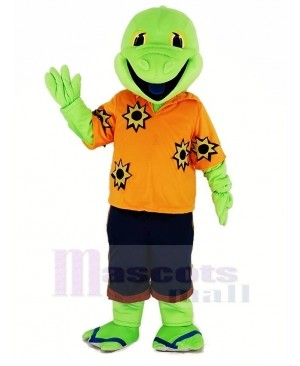 Green Lizard with Orange T-shirt Mascot Costume Animal