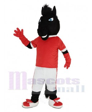 Black Horse in Red Jersey Mascot Costume Animal