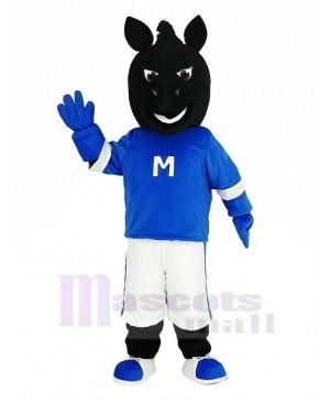 Black Horse with Blue Coat Mascot Costume Animal