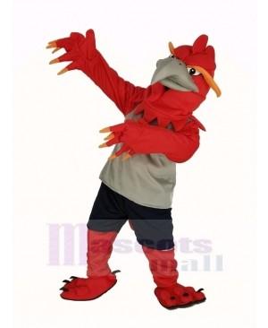 Red Phoenix in Gray Vest Mascot Costume Animal
