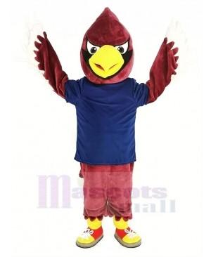 Red Cardinal Bird in Dark Blue Shirt Mascot Costume
