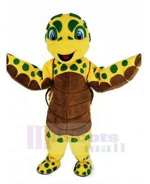 Brown and Yellow Sea Turtle Mascot Costume