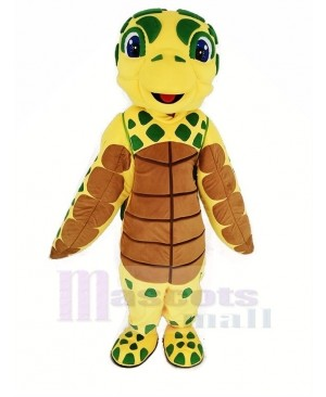 Brown and Yellow Sea Turtle Mascot Costume Animal
