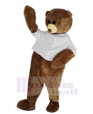 Cute Brown Bear with White Vest Mascot Costume
