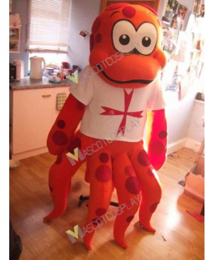 High Quality Adult Octopus in White Shirt Mascot Costume