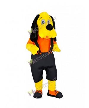 High Quality Adult Ori Dog Yellow Dog in Black Overalls Mascot Costume