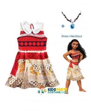 Princess Moana Costume for Children Vaiana dress  with Necklace for Halloween Cosplay for Kids Girls Gifts