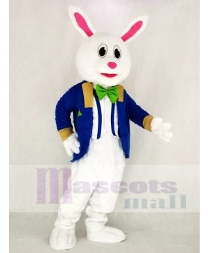 Funny Easter Bunny Rabbit with Blue Suit Mascot Costume Animal