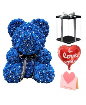 Diamond Royal Blue Rose Teddy Bear Flower Bear Best Gift for Mother's Day, Valentine's Day, Anniversary, Weddings and Birthday