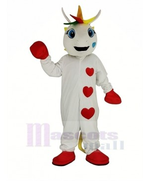 White Unicorn with Colorful Horn Mascot Costume Animal