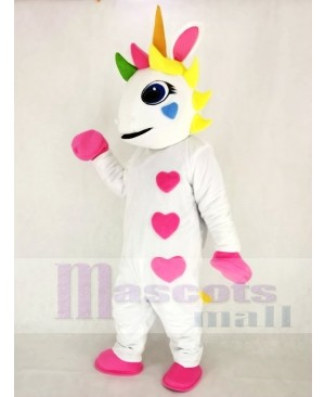 White Unicorn with Hearts and Colorful Horn Mascot Costume Animal