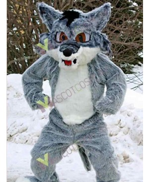 Fierce Gray Snow Fox Mascot Costume