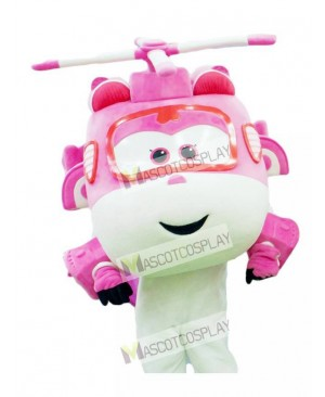 Pink and White Helicopter Dizzy Super Wings Mascot Costume
