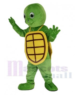 Happy Green Turtle with Yellow Shell Mascot Costume