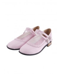 "Pink 1.0"" Heel High Beautiful Patent Leather Point Toe Cross Straps Platform Women Lolita Shoes"