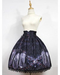Nightmare Curse Double Binding Bands Black Lolita Skirt