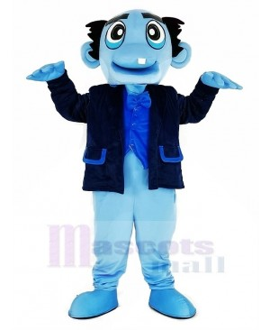 Blue Ghost with Black Coat Mascot Costume