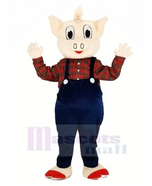 Pig with Blue Overalls Mascot Costume Animal