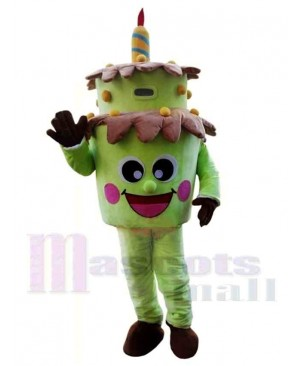 Green Birthday Cake Mascot Costume