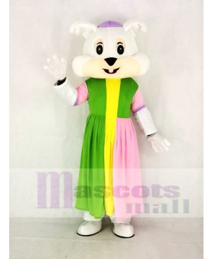 Realistic Easter Bunny Rabbit in Colorful Dress Mascot Costume Cartoon