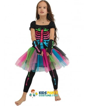 Girls Funky Punky Bones Costume Child Skeleton Rocker Cosplay Tutu Dress Fancy Dress Costume