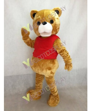 High Quality New Ted Mascot Costume Teddy Bear Mascot Costume in Red Vest