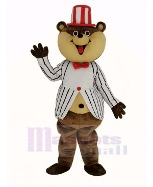 Huge Brown Teddy Bear with White Striped Coat Mascot Costume