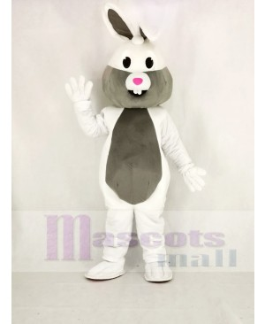 White and Grey Easter Bunny Rabbit Mascot Costume Animal